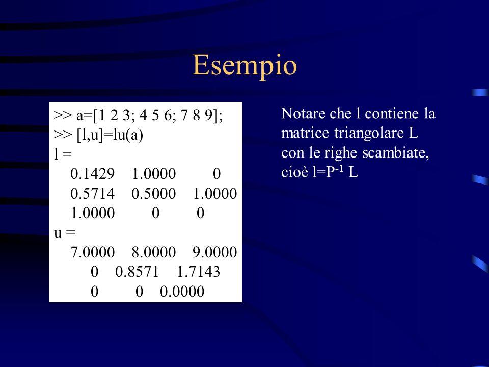 Esempio Notare che l contiene la >> a=[1 2 3; 4 5 6; 7 8 9];
